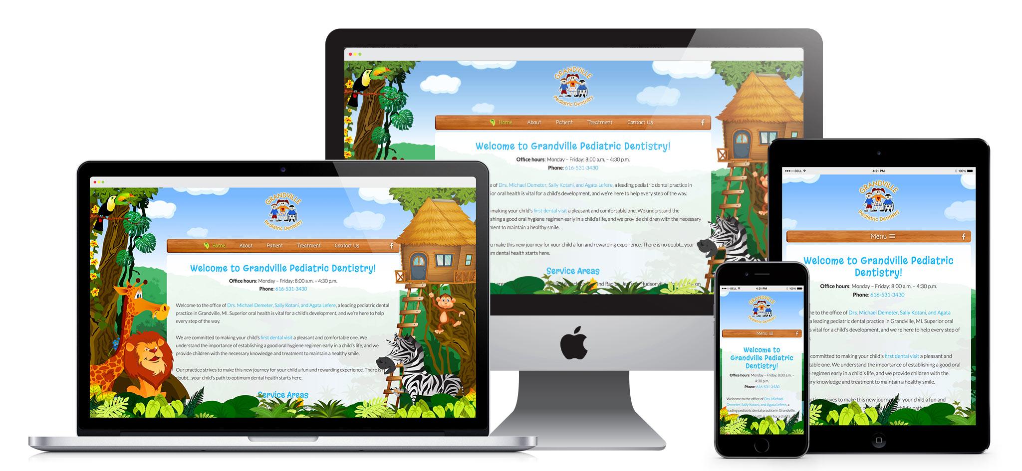 Grandville Pediatric Dentistry website screenshots