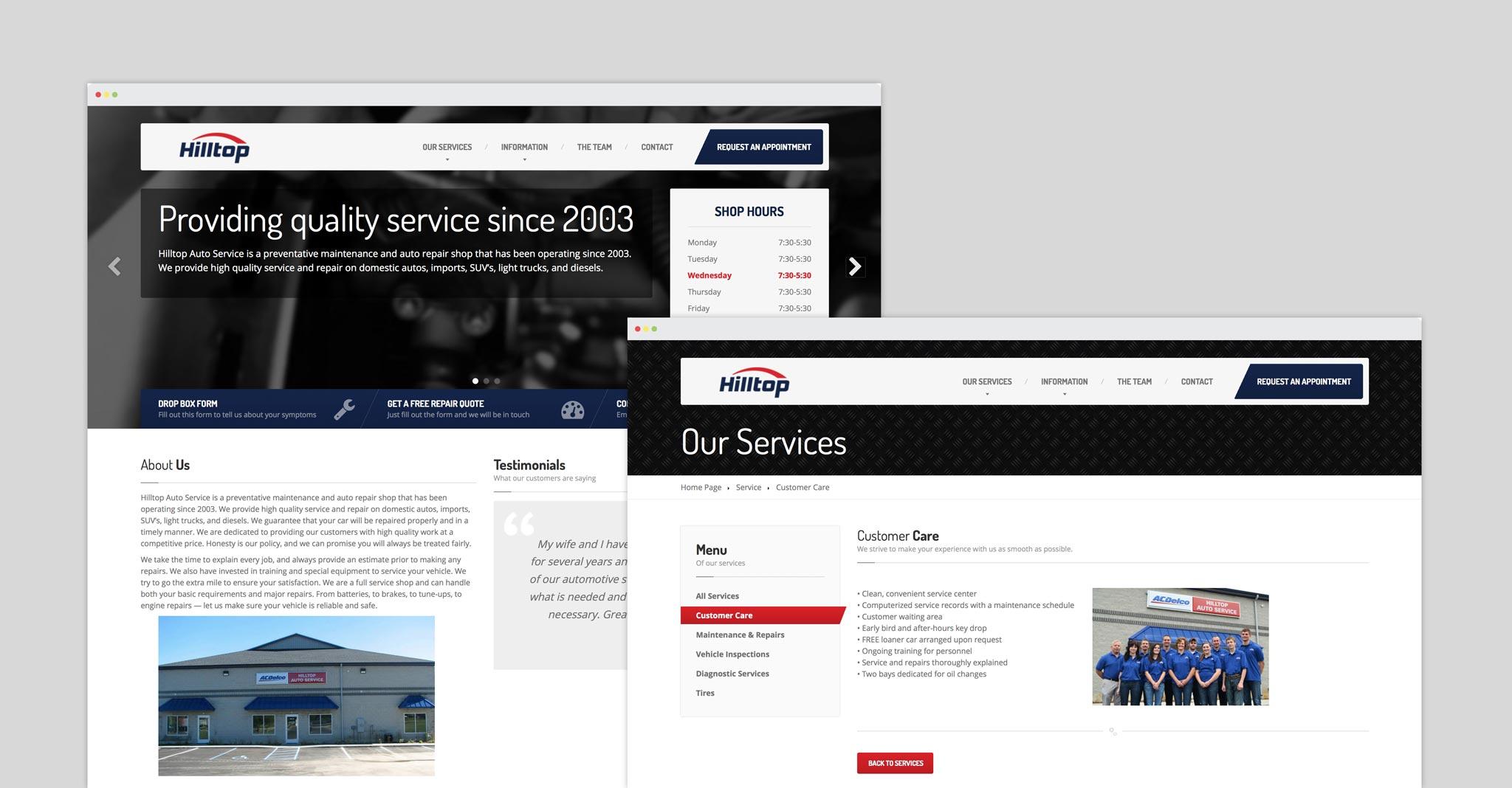Hilltop Auto website screenshots