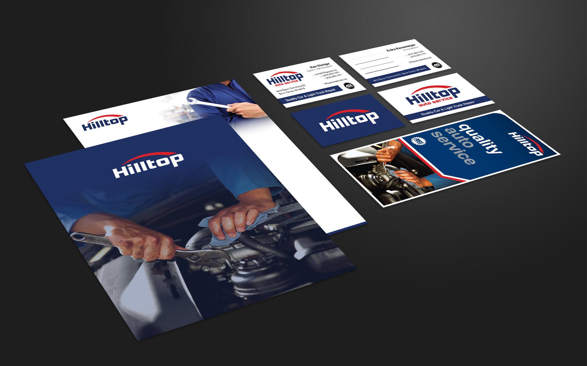 Hilltop Auto print materials