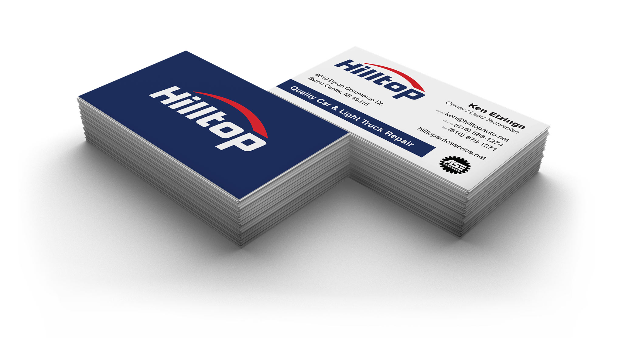 Hilltop Auto business cards