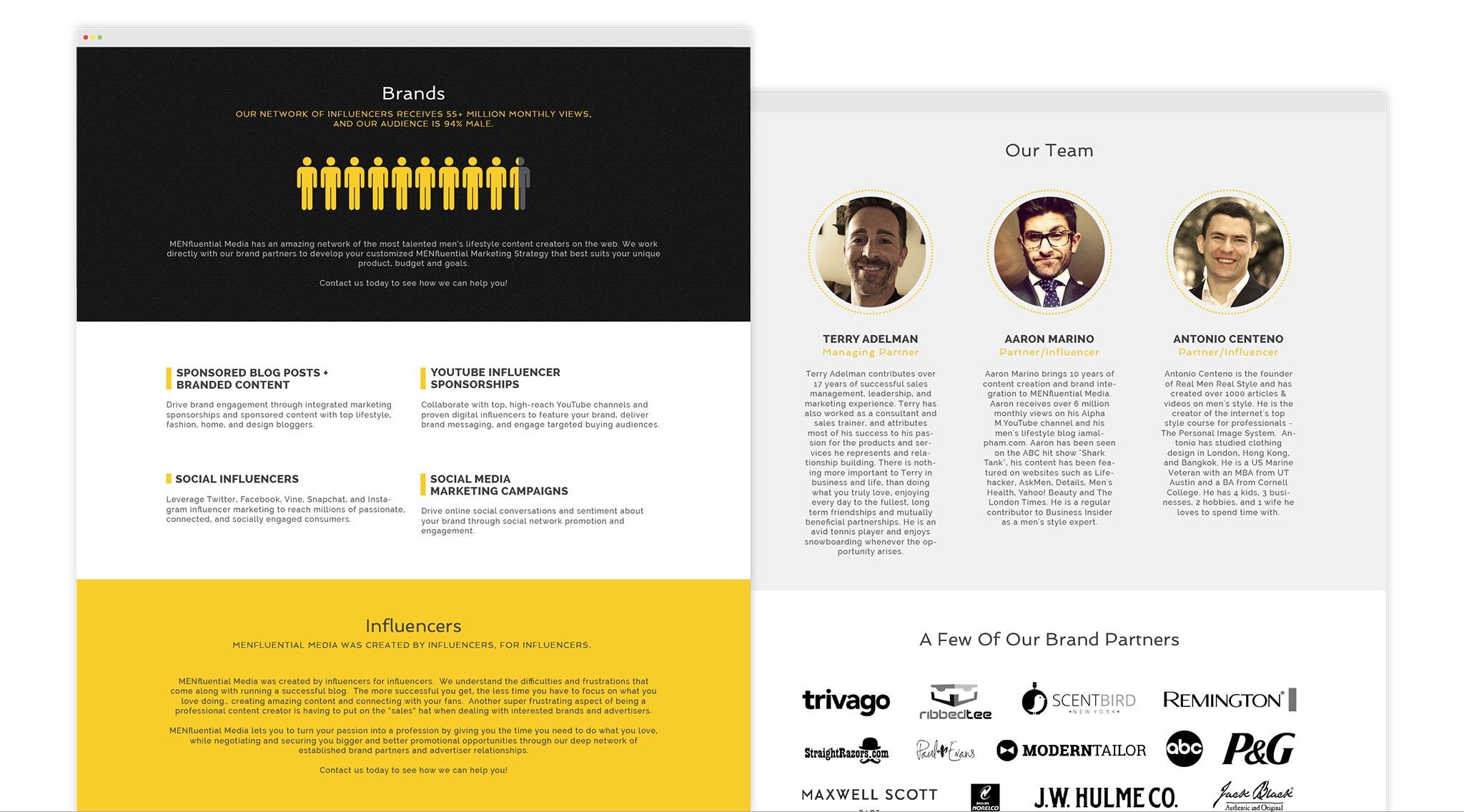 MENfluential website screenshots